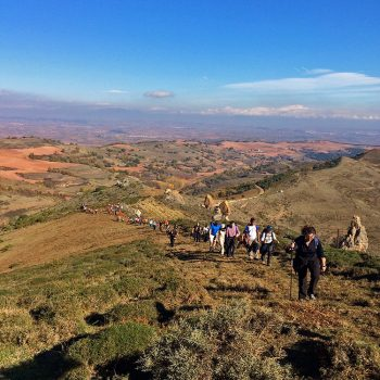 Una larga hilera de participantes llegando al pico de Los Guardias.