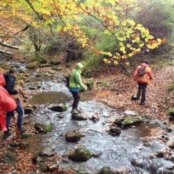 Cruzando el arroyo Rigüelo antes del segundo avituallamiento