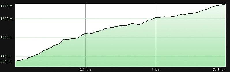 Perfil ruta Barranco de Navar